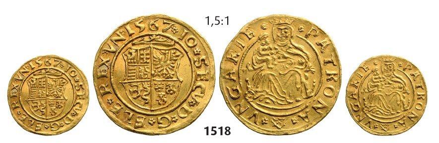 Ducat 1567, Hermannstadt (Sibiu), Gold, 3,54 g.