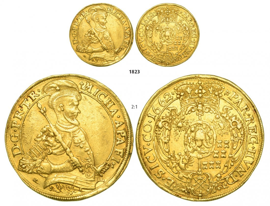10 Ducats 1662, Hermannstadt (Sibiu), Gold, 34,48 g.