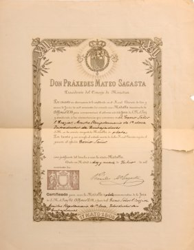 Diploma For A Silver Medal Alphonse Xiii Awarded To A