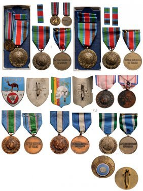 Group Of Medals And Badges From The Un Including Badges