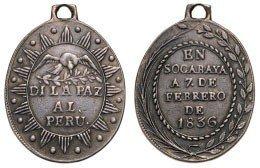Peru Bolivia, Socabaya Peace Medal, instituted in 1836