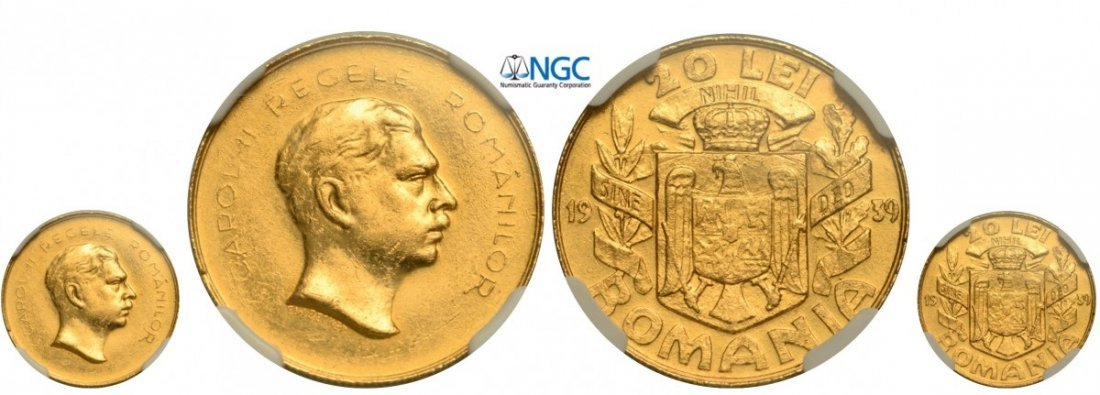 20 Lei 1939, Bucuresti, Gold, extremely rare, mintage