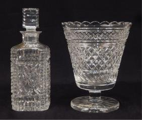 Waterford Crystal Footed Vase And Decanter