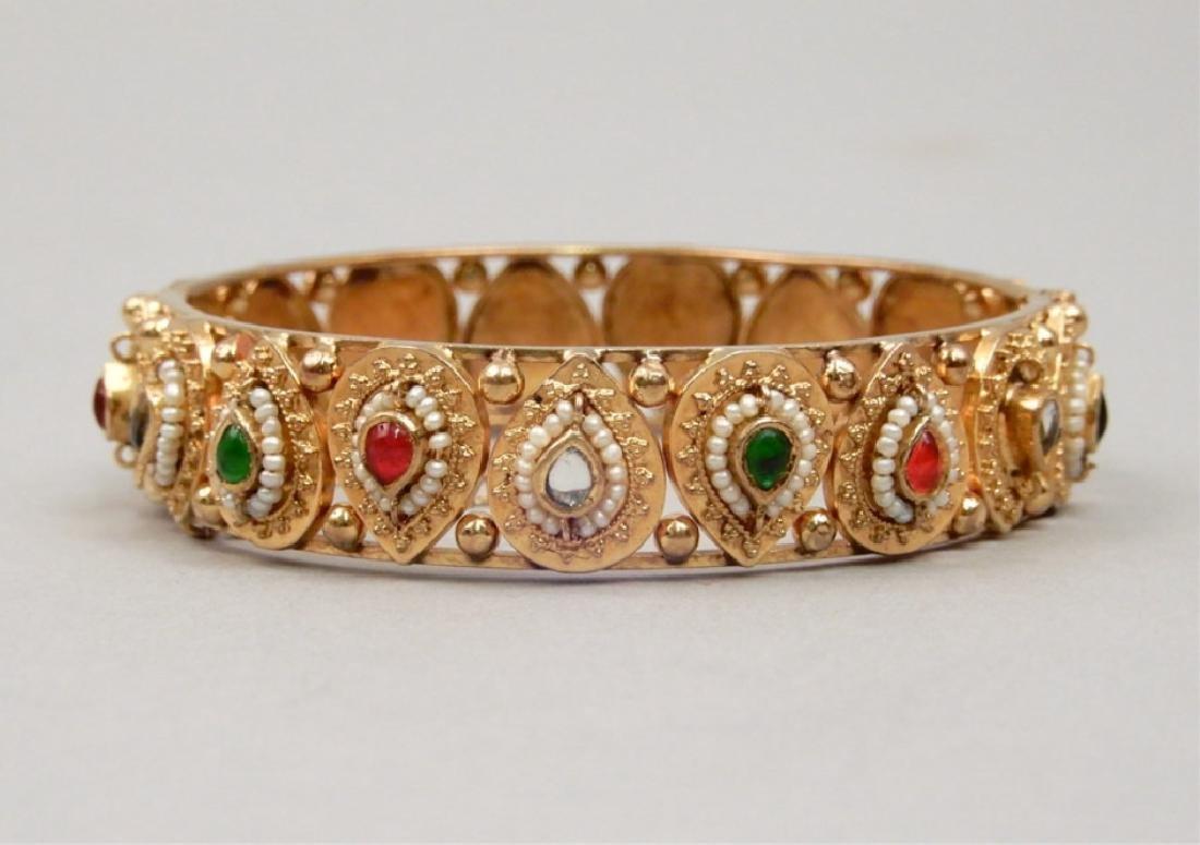 High carat gold jeweled Mogul bracelet