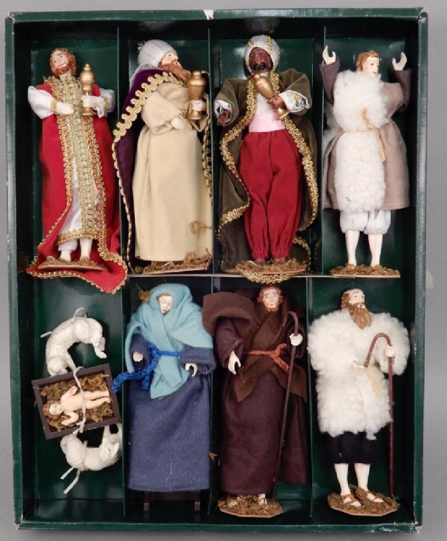 Ten piece carved wooden nativity set