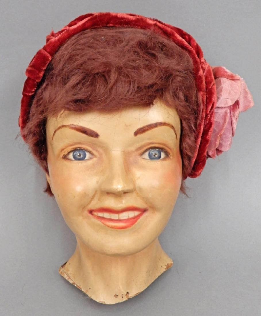 1930's-40's mannequin head hat display