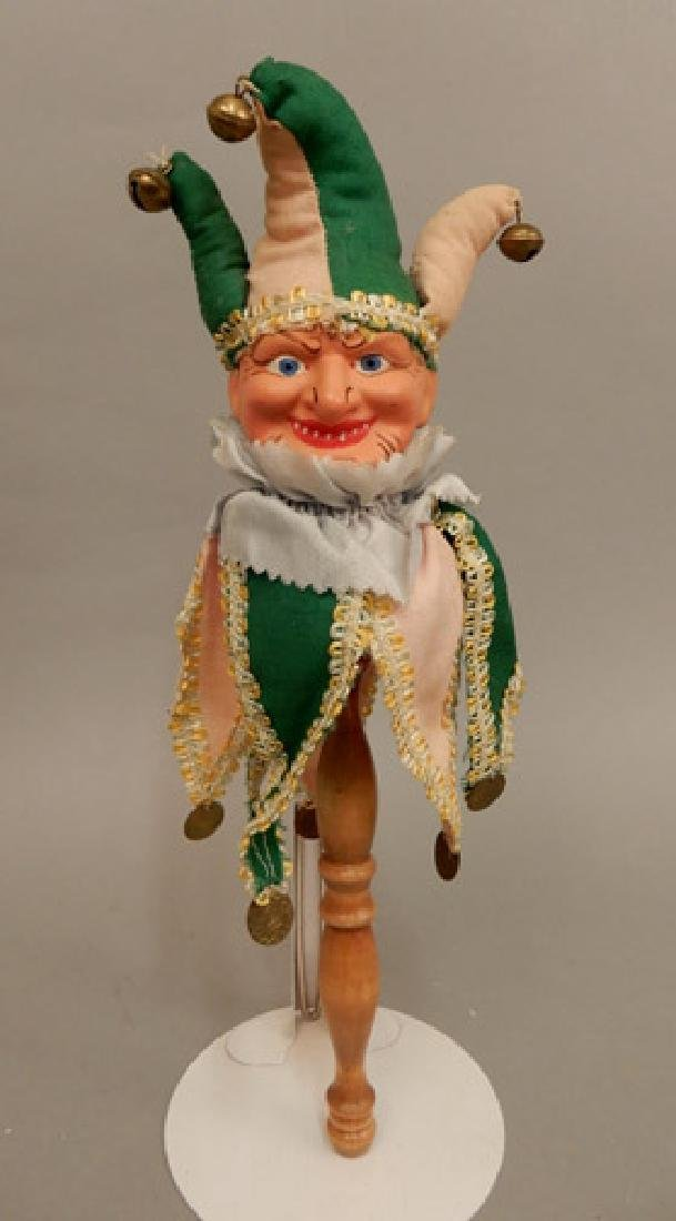 1940's composition clown on wooden stick