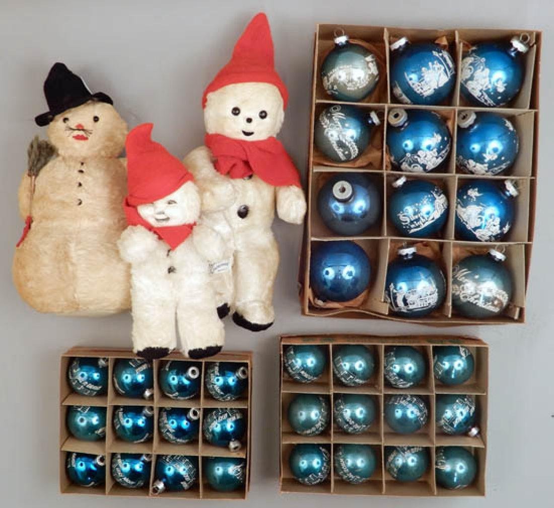 Vintage Shiny Brite Glass ornaments and snowmen