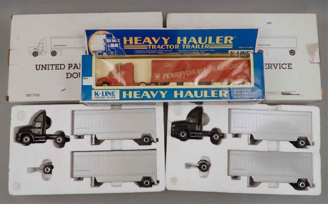 Two UPS Diecast UP1700 Doubles and K-Line Heavy Hauler