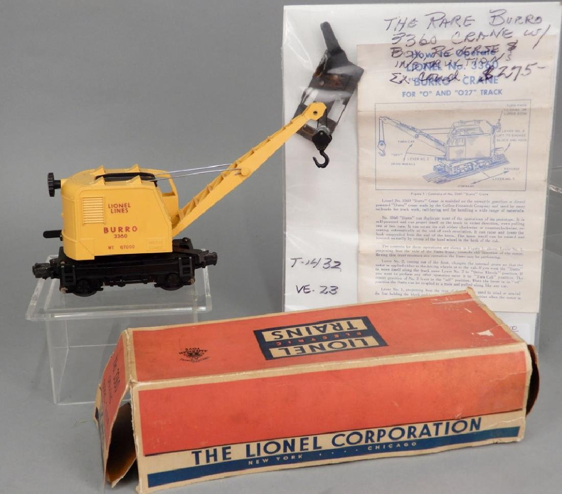 Lionel No. 3360 Operating Burro Crane in original box