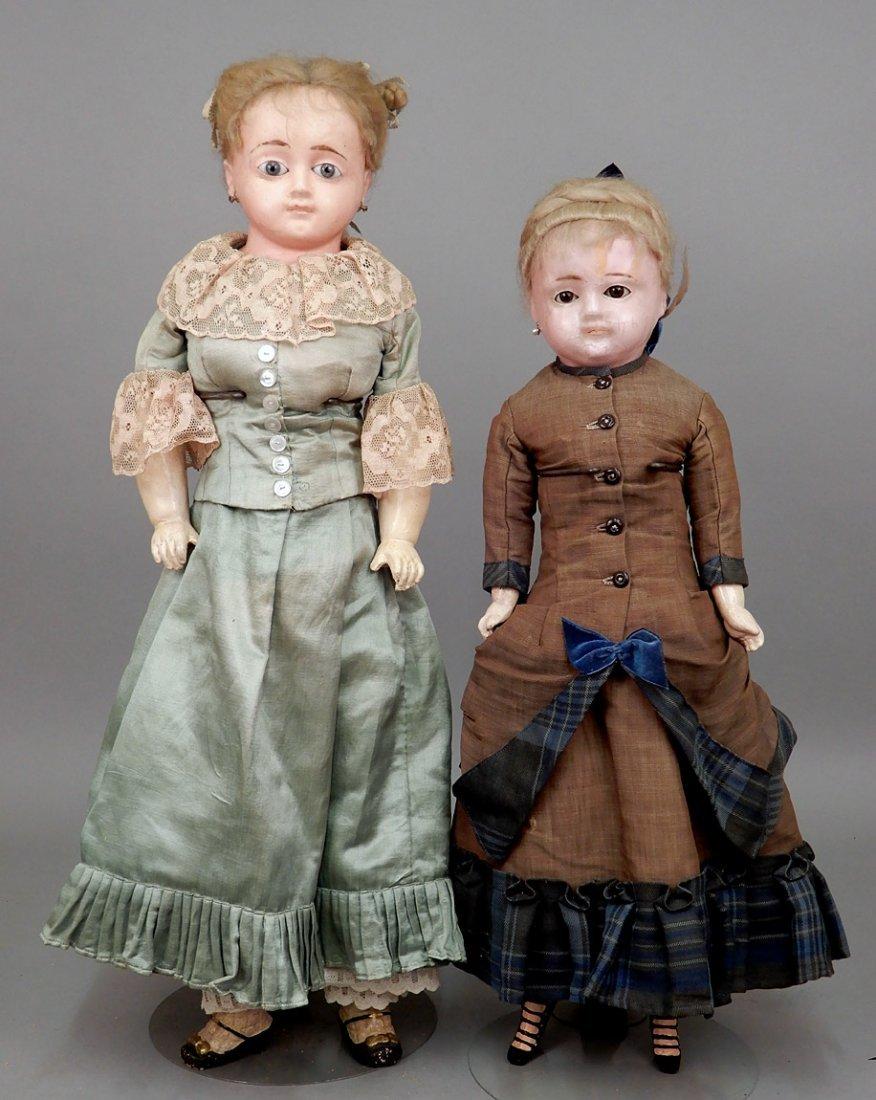 Two wax shoulder head dolls