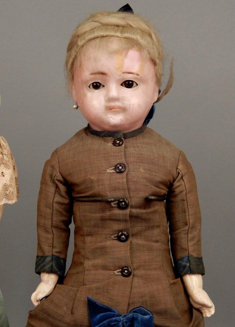 Two wax shoulder head dolls - 2