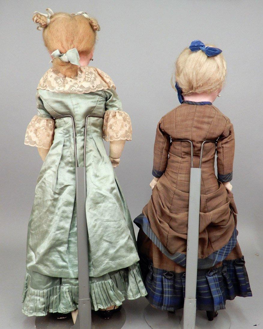 Two wax shoulder head dolls - 6