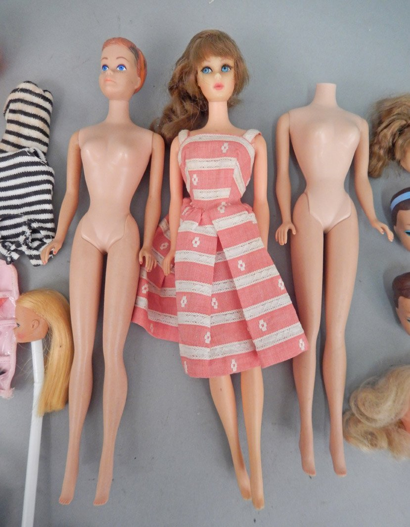 Grouping of Barbie dolls, Barbie heads, and shoes - 2