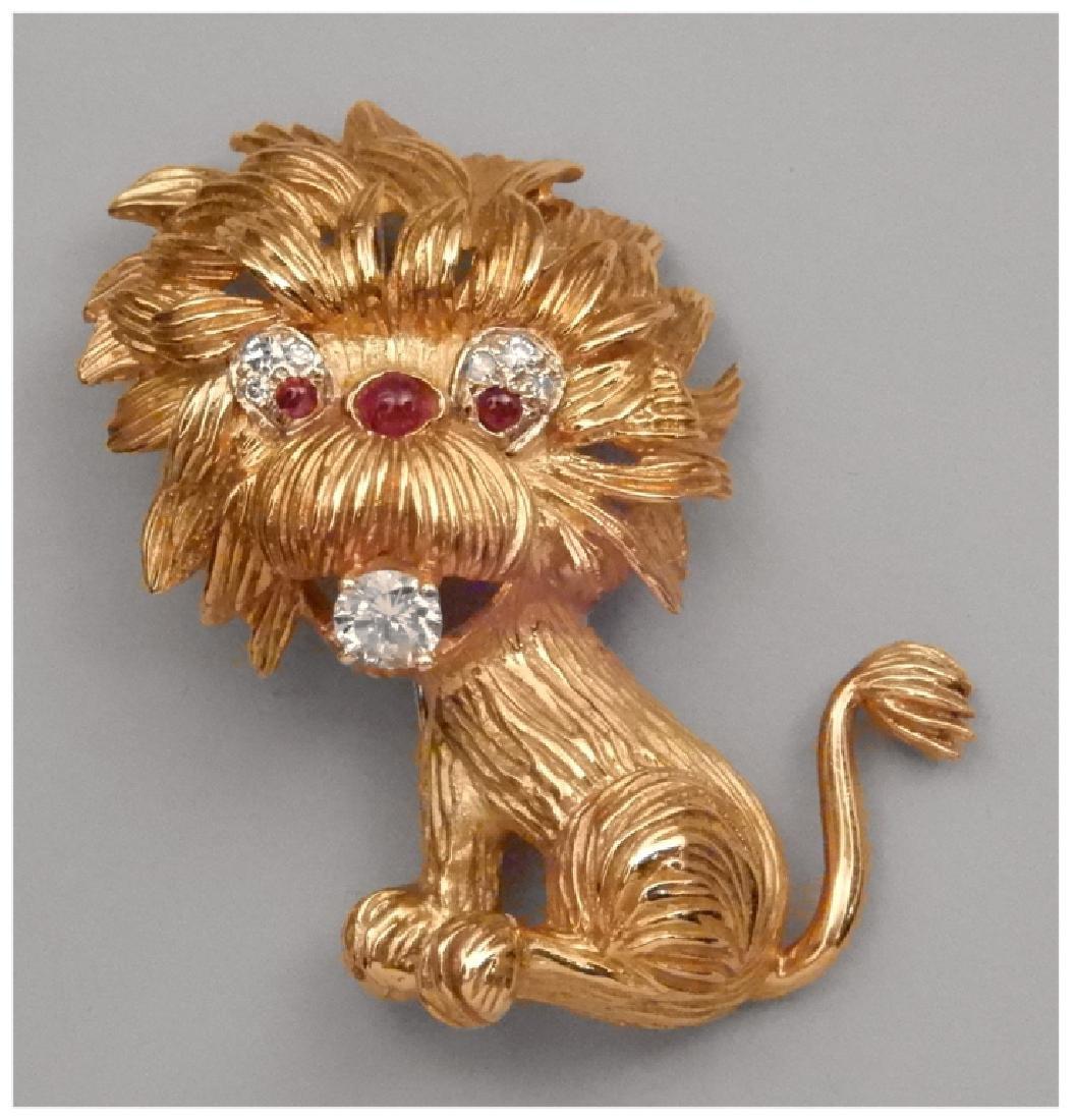 18k gold and diamond lion brooch