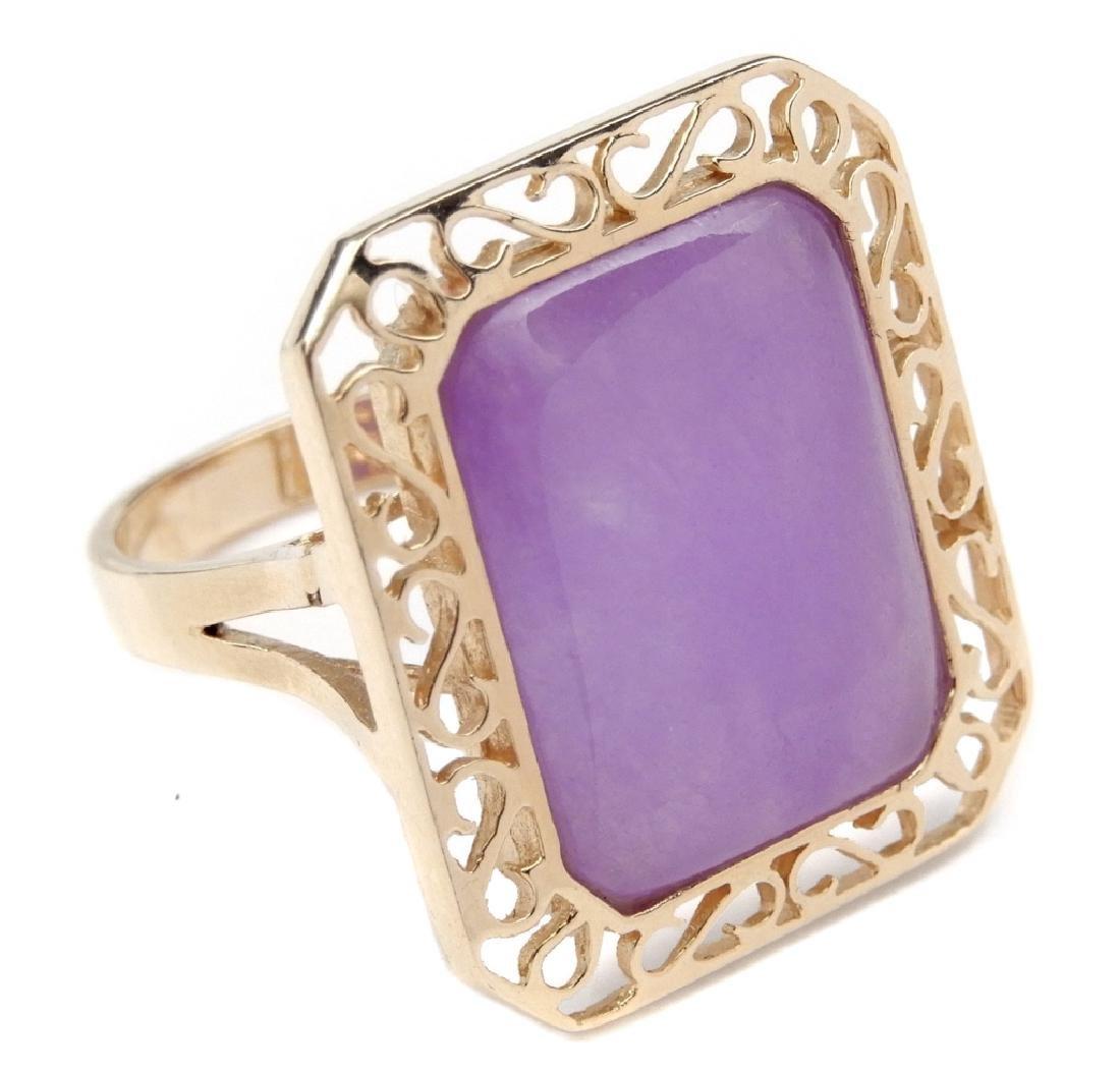 14k gold lavender jade ring