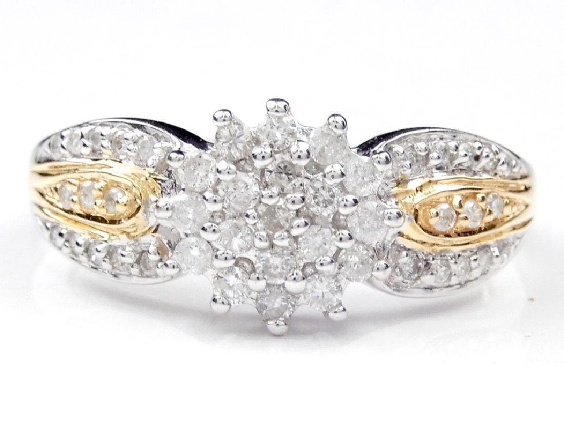 Two tone 14k gold and diamond cluster ring