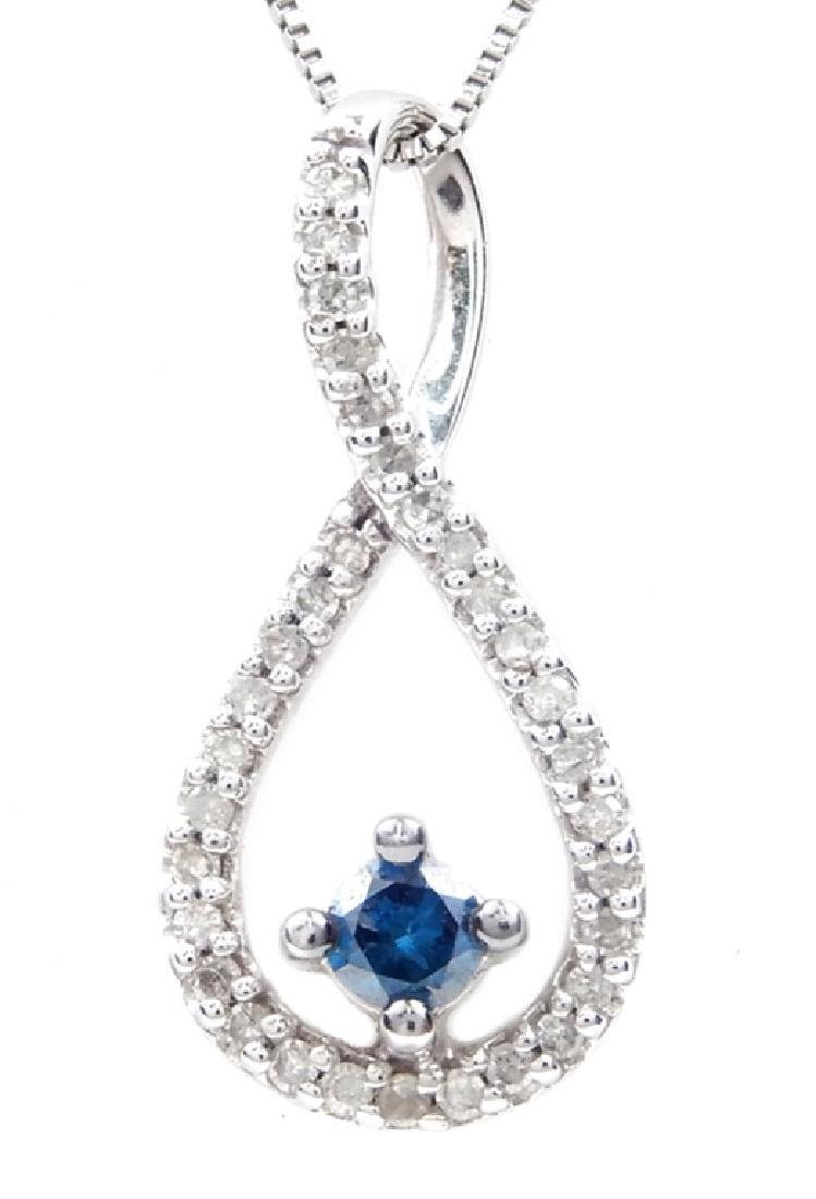 14k white gold blue and white diamond necklace