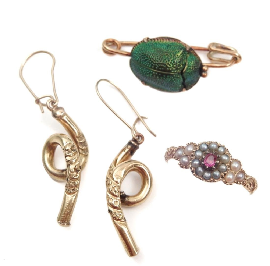 Victorian gold jewelry grouping