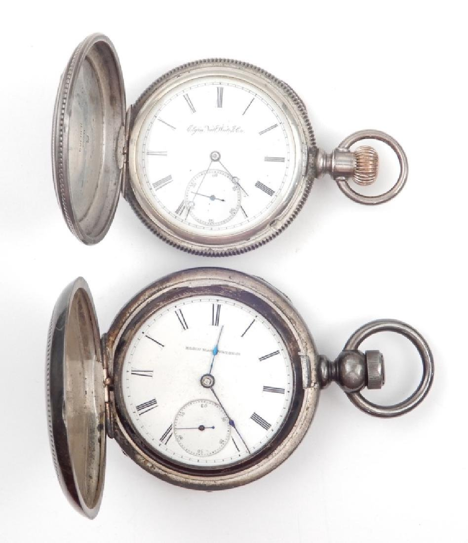 Two Elgin coin silver pocket watches