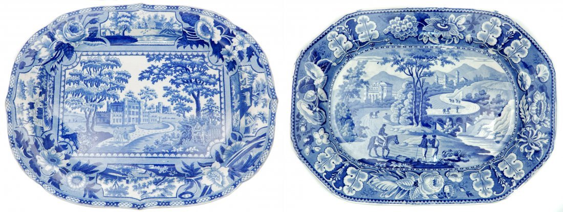 Two Staffordshire blue and white platters