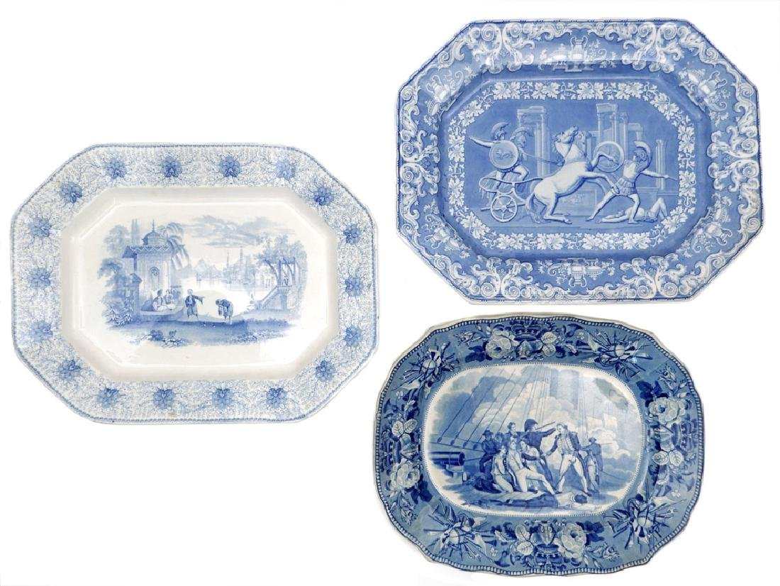 Three Staffordshire blue and white platters