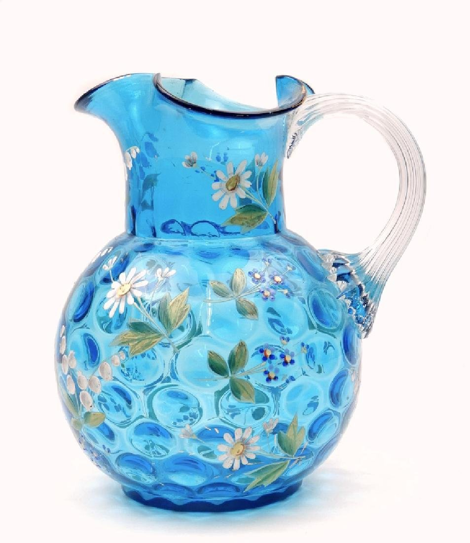 Hobbs enameled glass pitcher