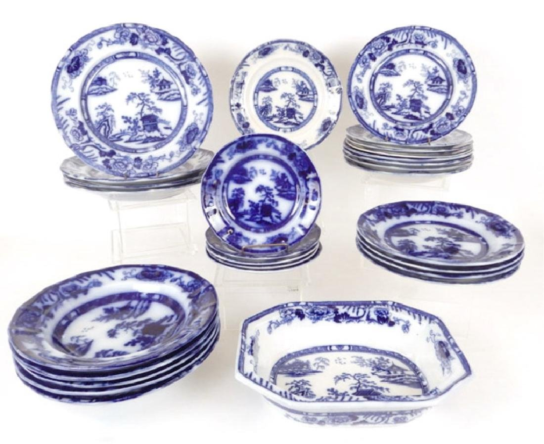 Collection of Hong Kong pattern flow blue pieces
