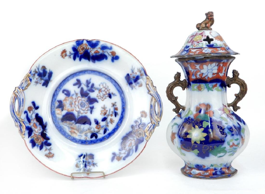 19th C. English flow blue polychrome tray and potpourri
