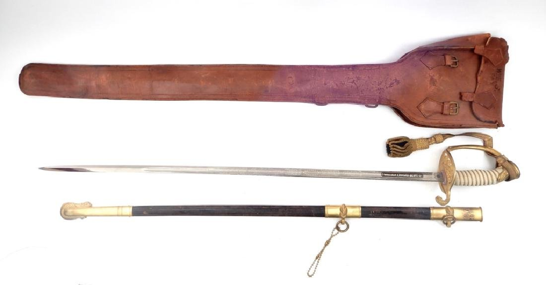 Naval Officers sword in scabbard and leather case