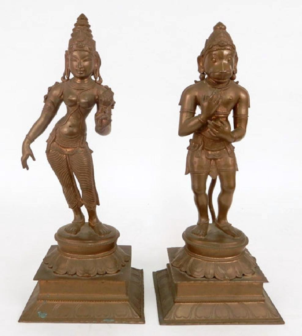 Bronze figures of Lakshmi and Hanuman