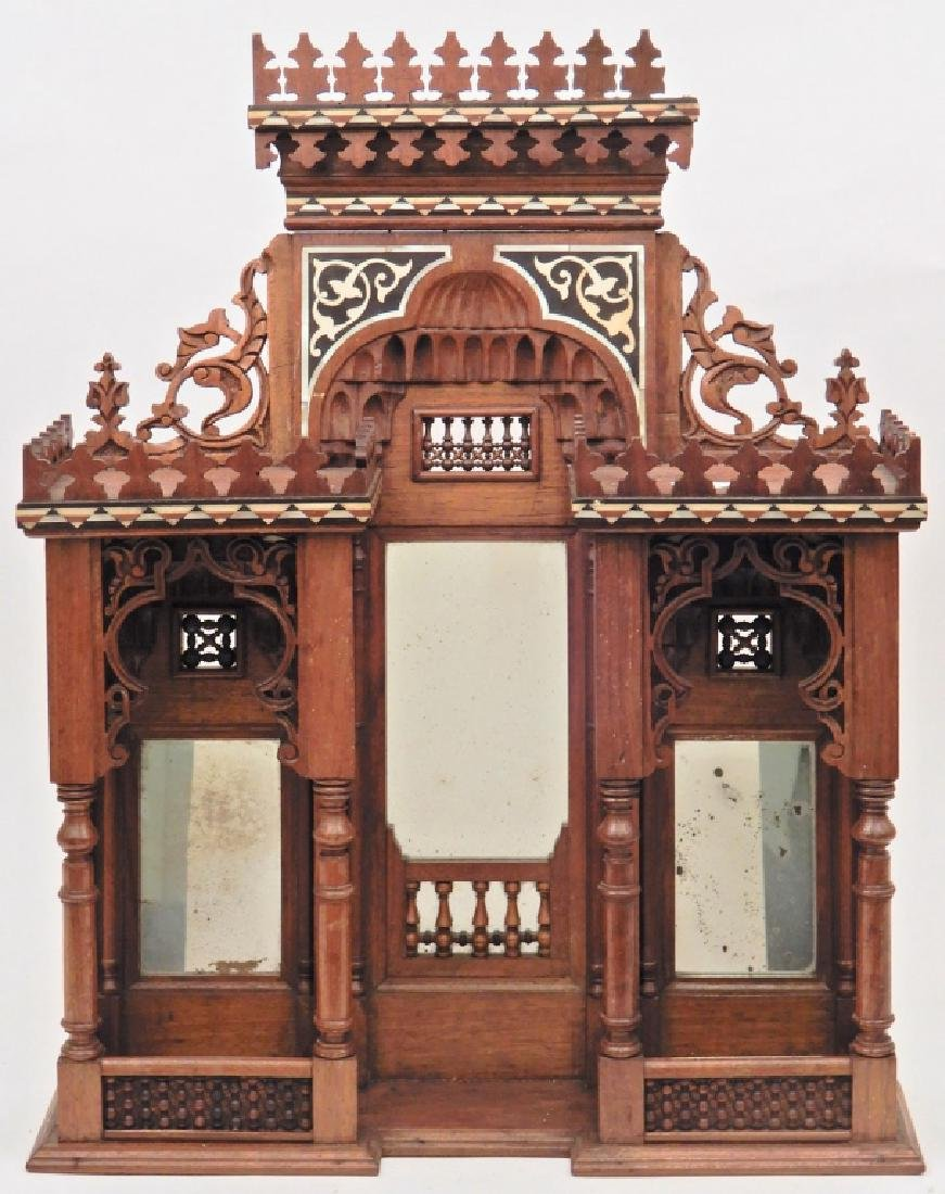 Walnut inlaid what-not shelf in the style of a Moorish