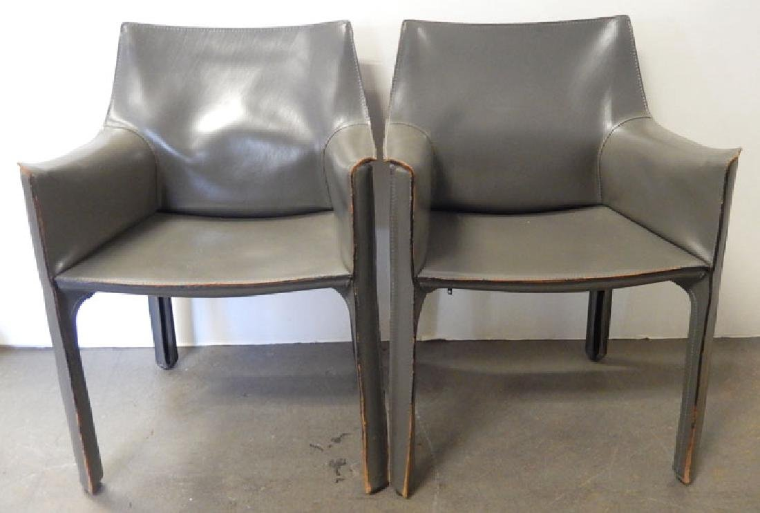 Pair of Cassina Mario Bellini leather cab chairs