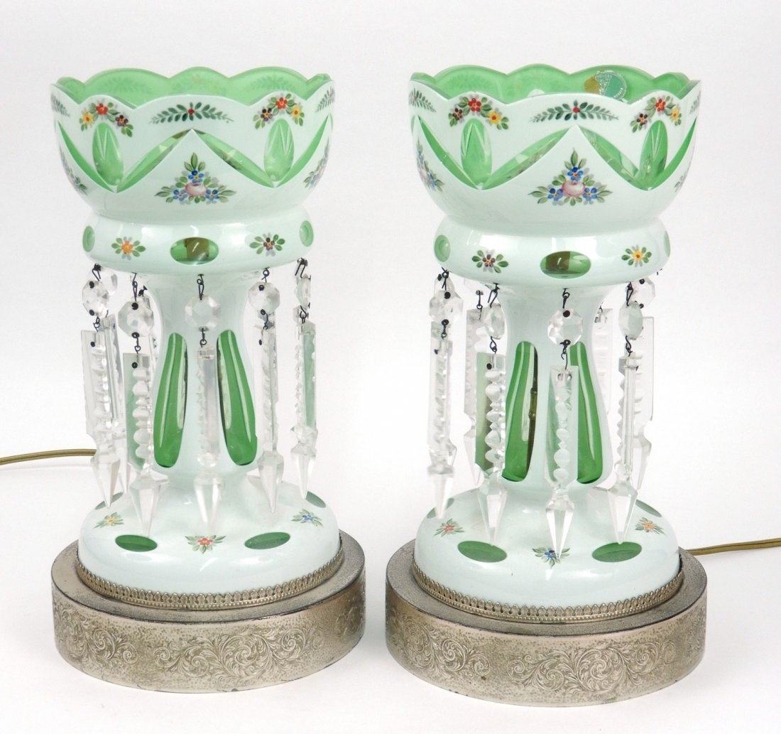 Pair of Czechoslovakian glass electrified lusters