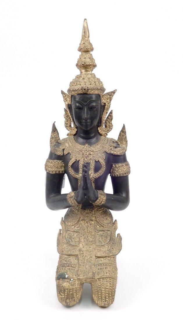 Patinated and gilt bronze Thai Teppanom sculpture