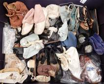 Grouping of antique and vintage doll shoes