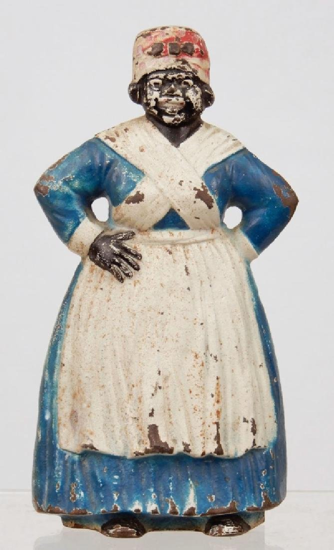 Spenser cast iron painted blue and white Aunt Jemima