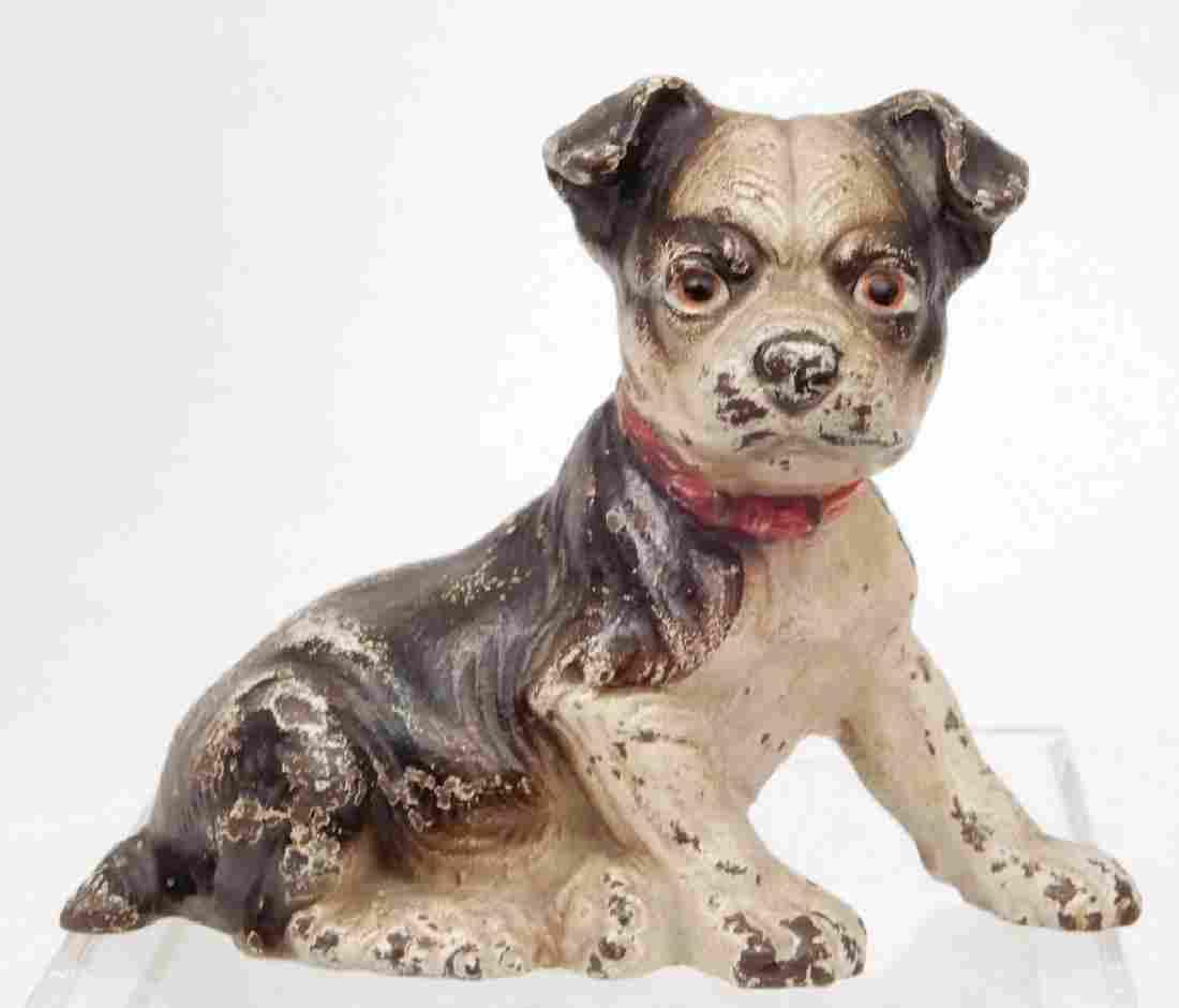 Hubley cast iron painted Boston Terrier puppy doorstop