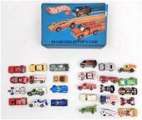 Hot Wheels cars in Collectors Case, includes Red lines,