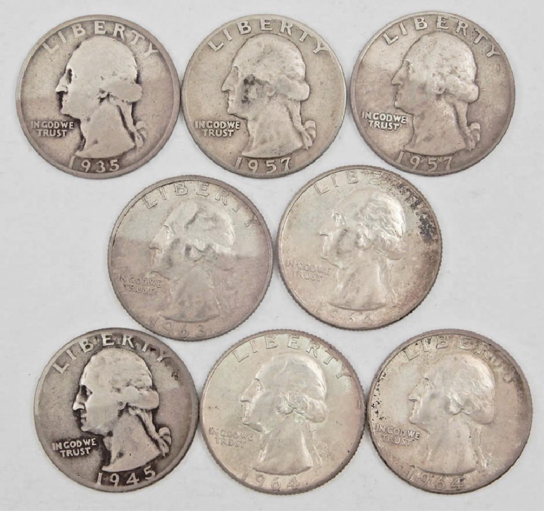 Eight silver Washington Quarters