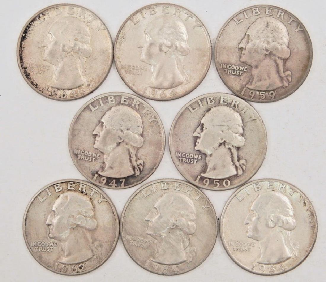 Eight silver Washington Quarters