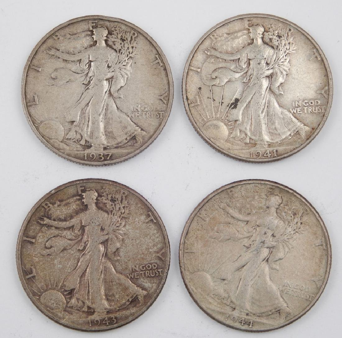 Four Walking Liberty half dollars