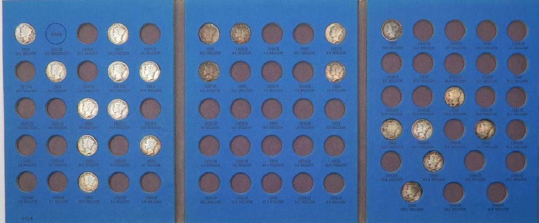 Partially filled book of Mercury dimes