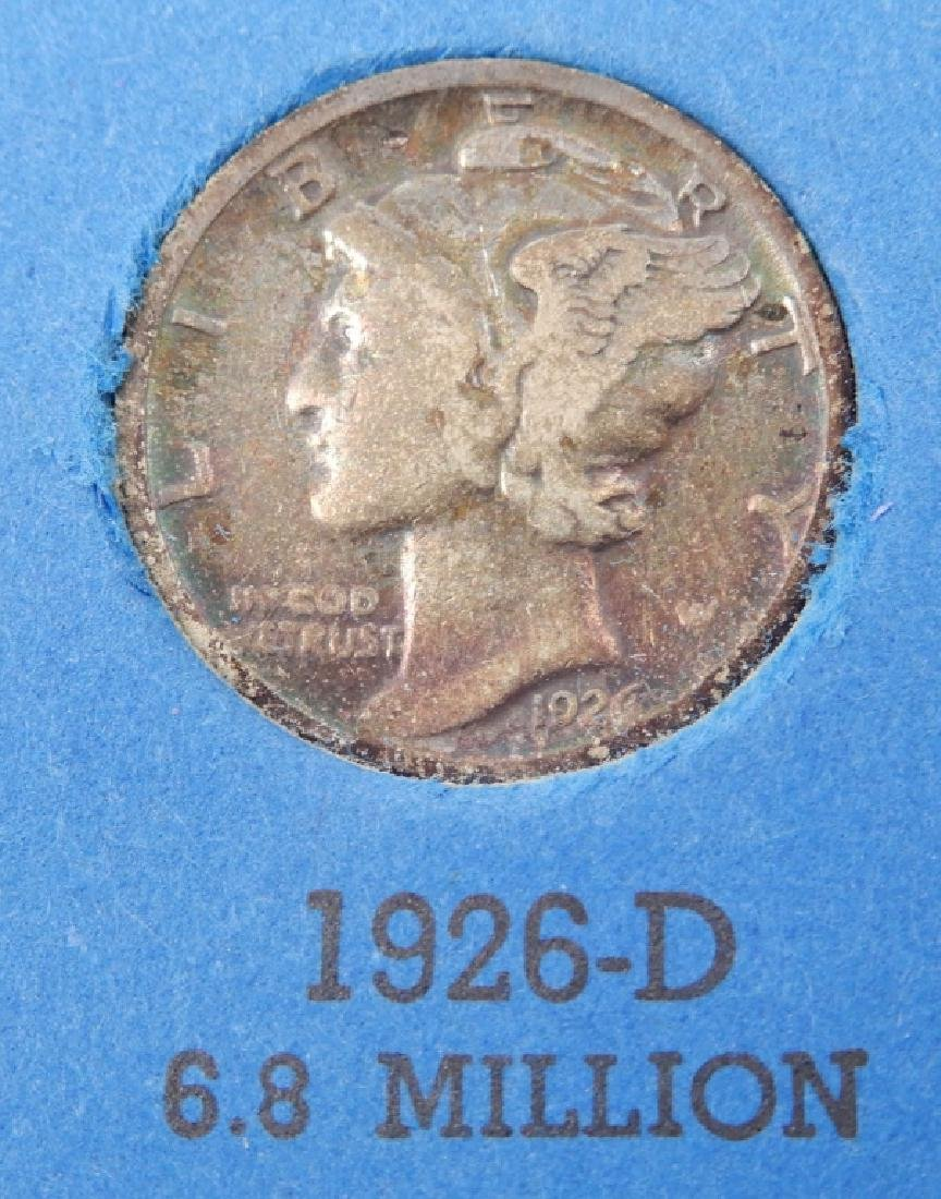 Partially filled book of Mercury dimes - 2