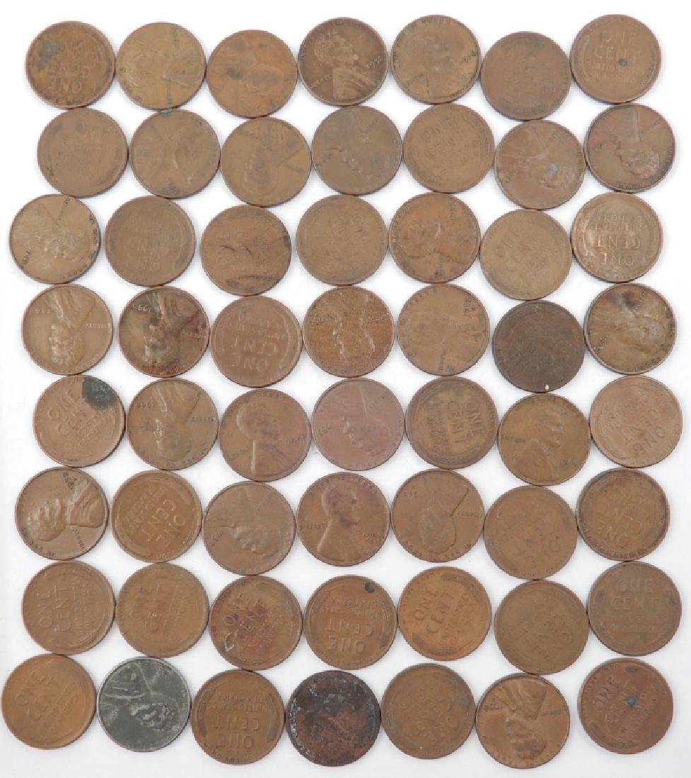Fifty-five wheat cents, one Indian Head cent