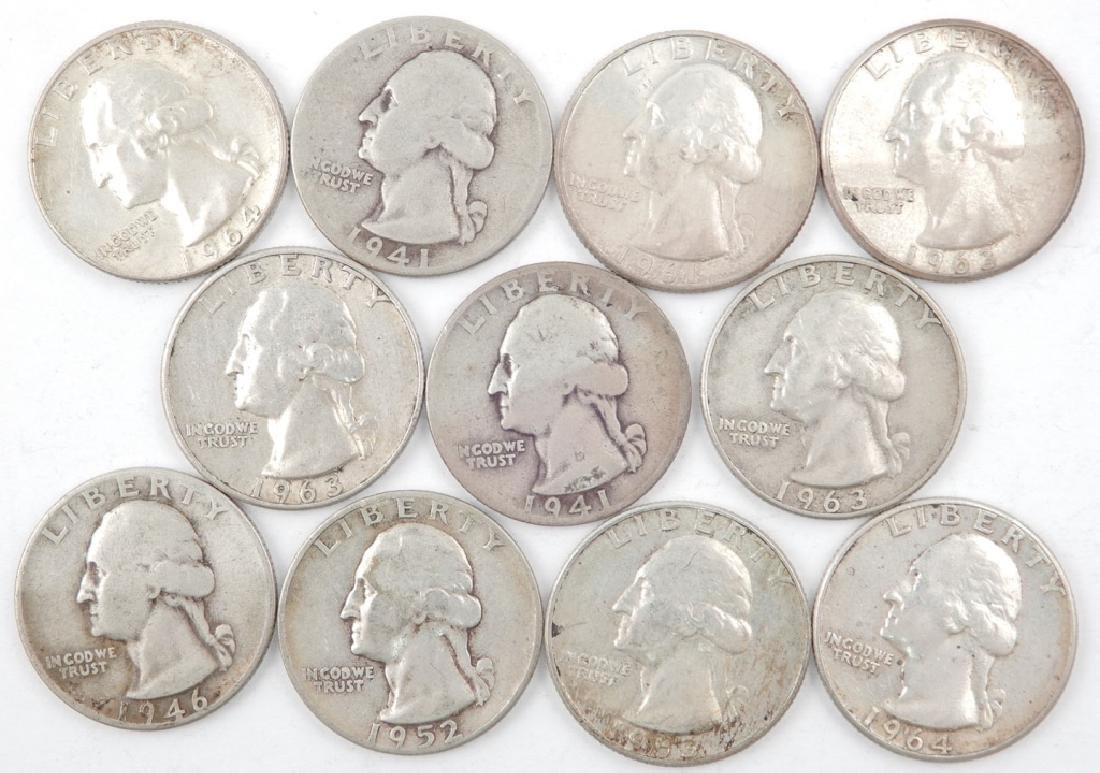 Eleven silver Washington quarters