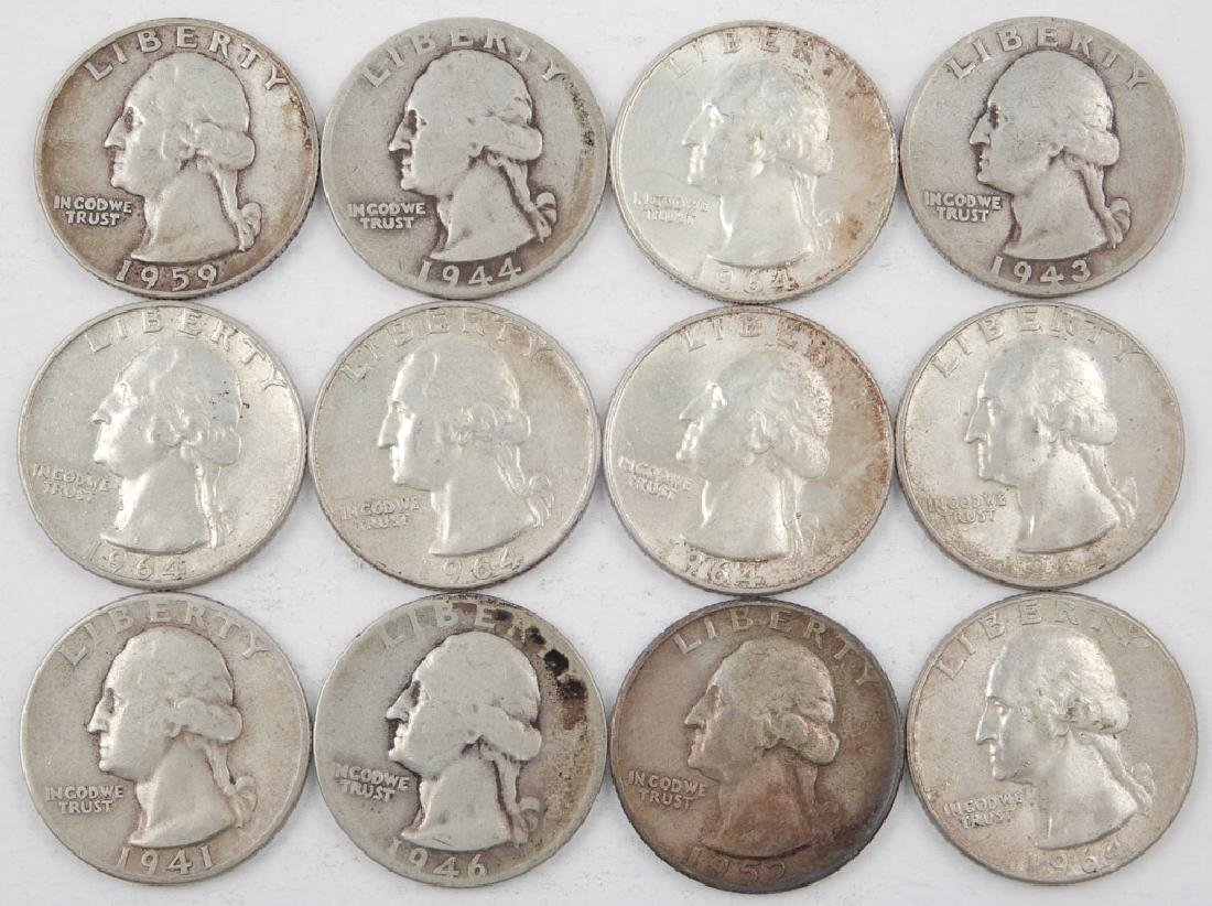 Twelve silver Washington quarters