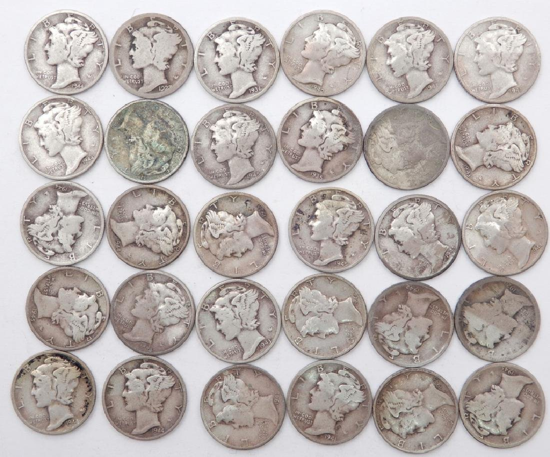 Thirty Mercury dimes