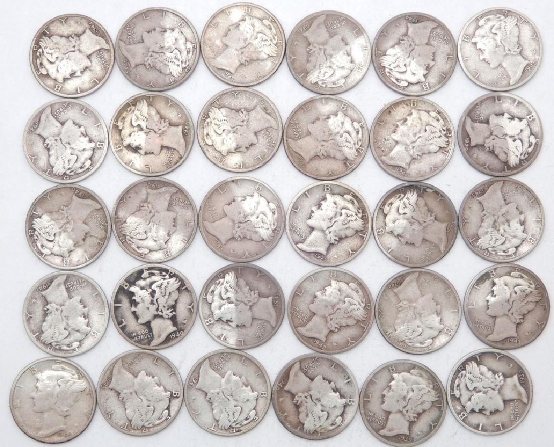 Thirty Mercury dimes
