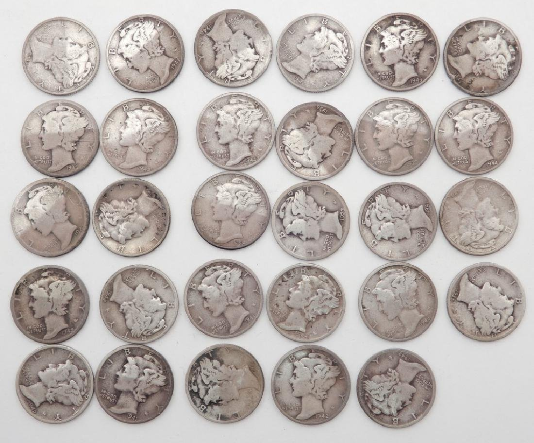 Twenty-nine Mercury dimes